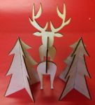 2 x Christmas trees & Rudolph Reindeer wooden ornament decorations